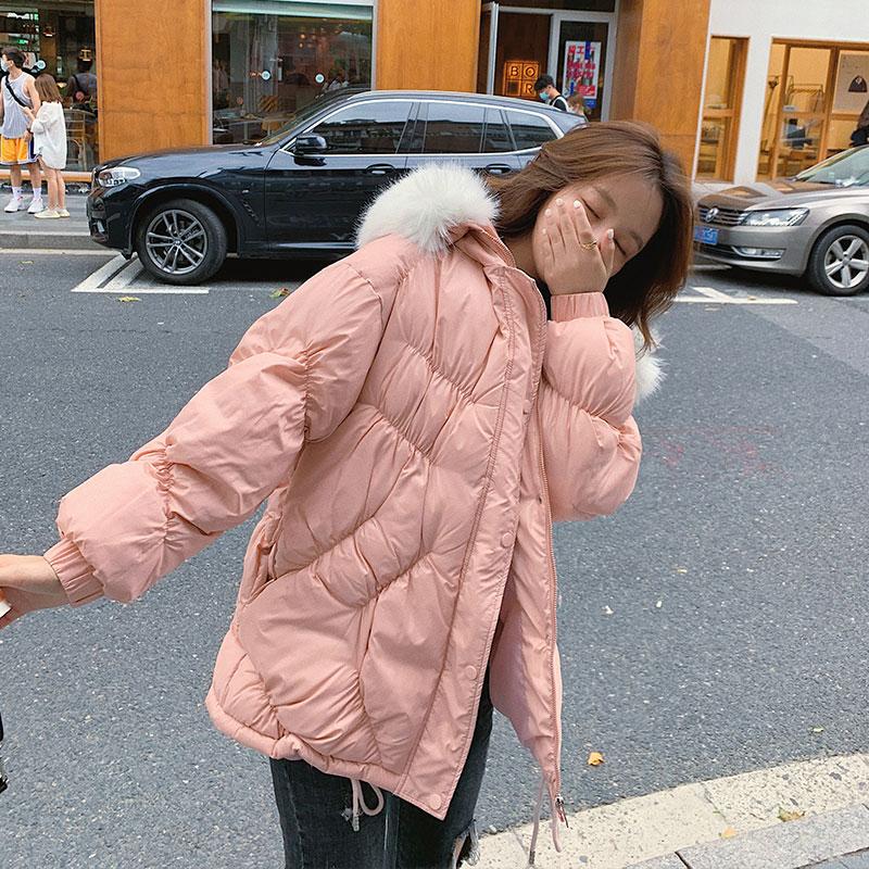 2020冬季新款短款大毛领棉服格子羽绒服女式韩版宽松外套潮-依之秀羽绒服-