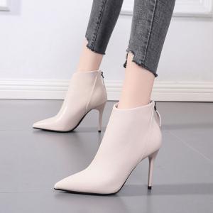 X-24533# 网红瘦瘦靴时尚尖头裸靴新款秋季百搭高跟马丁靴细跟黑色短靴女鞋批发鞋子批发