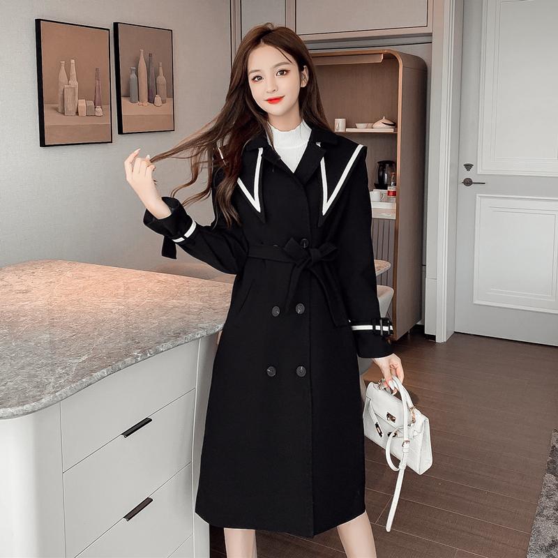 实拍2020秋冬新款现货韩版宽松显瘦长款气质百搭海军领撞色风衣-潘朵拉-