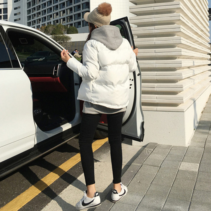 韩国东大门简约圆领燕尾气质棉衣女2020冬小个子休闲加厚面包棉服-依恋倾城实拍店-