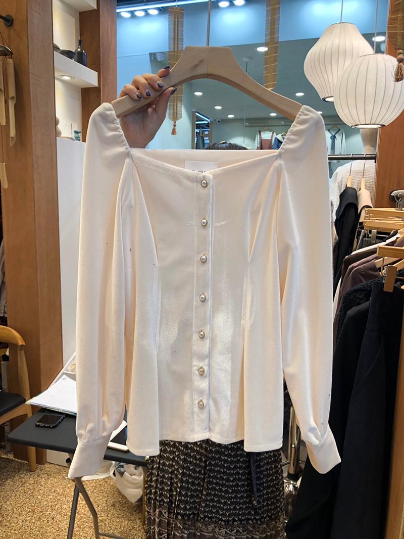 韩国东大门2020秋季新款方领长袖衬衫女法式宽松时尚小心机上衣潮-小狐狸女装-
