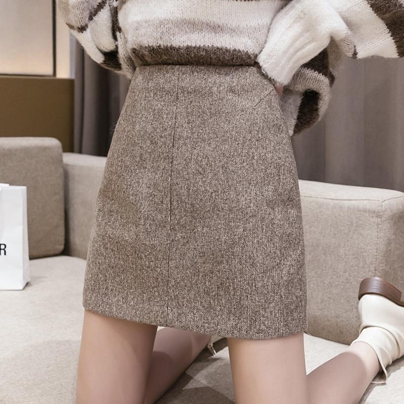实拍毛呢半身裙女秋冬新款港味复古高腰显瘦a字裙纯色包臀裙子潮-MGM-8度服饰-
