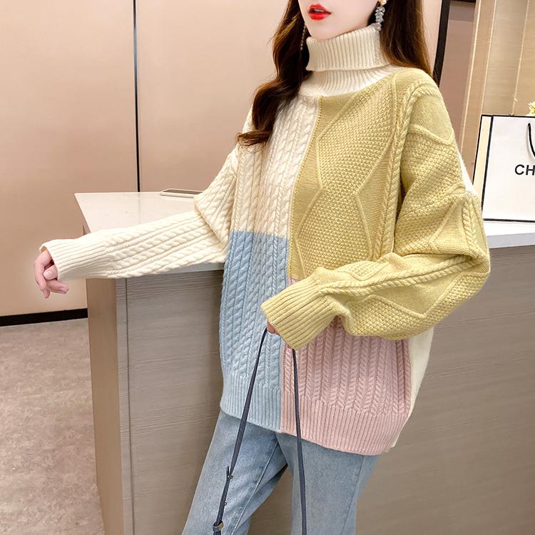实拍 秋冬装新款韩版潮外穿复古日系拼接百搭针织毛衣上衣女-小黄家-
