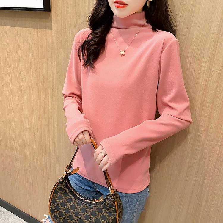 实拍 秋季新款韩版德绒加厚高领纯色ins打底衫长袖T恤女-小黄家-