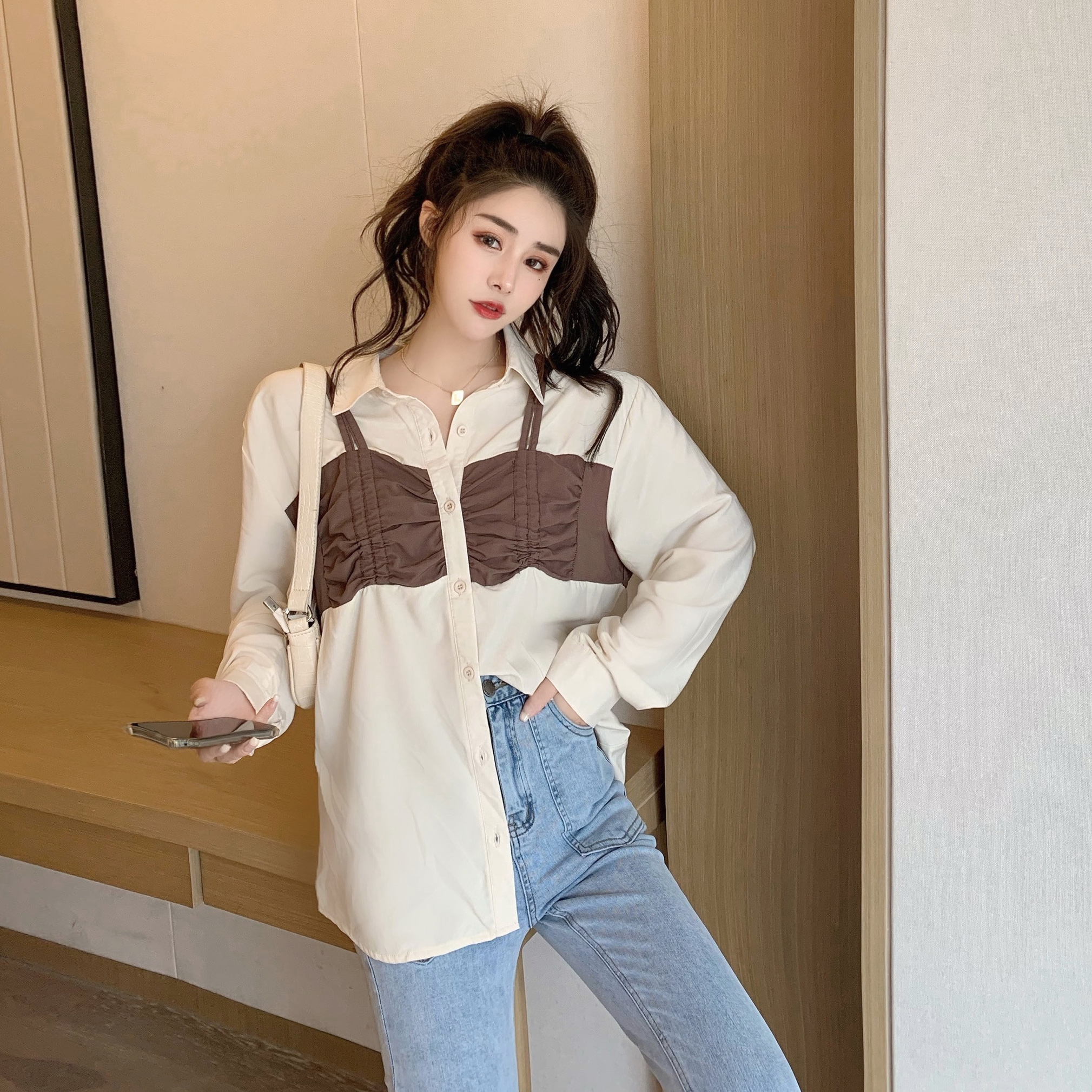 实拍实价~秋季韩版宽松复古设计感百搭假两件长袖衬衫女-花蜜-