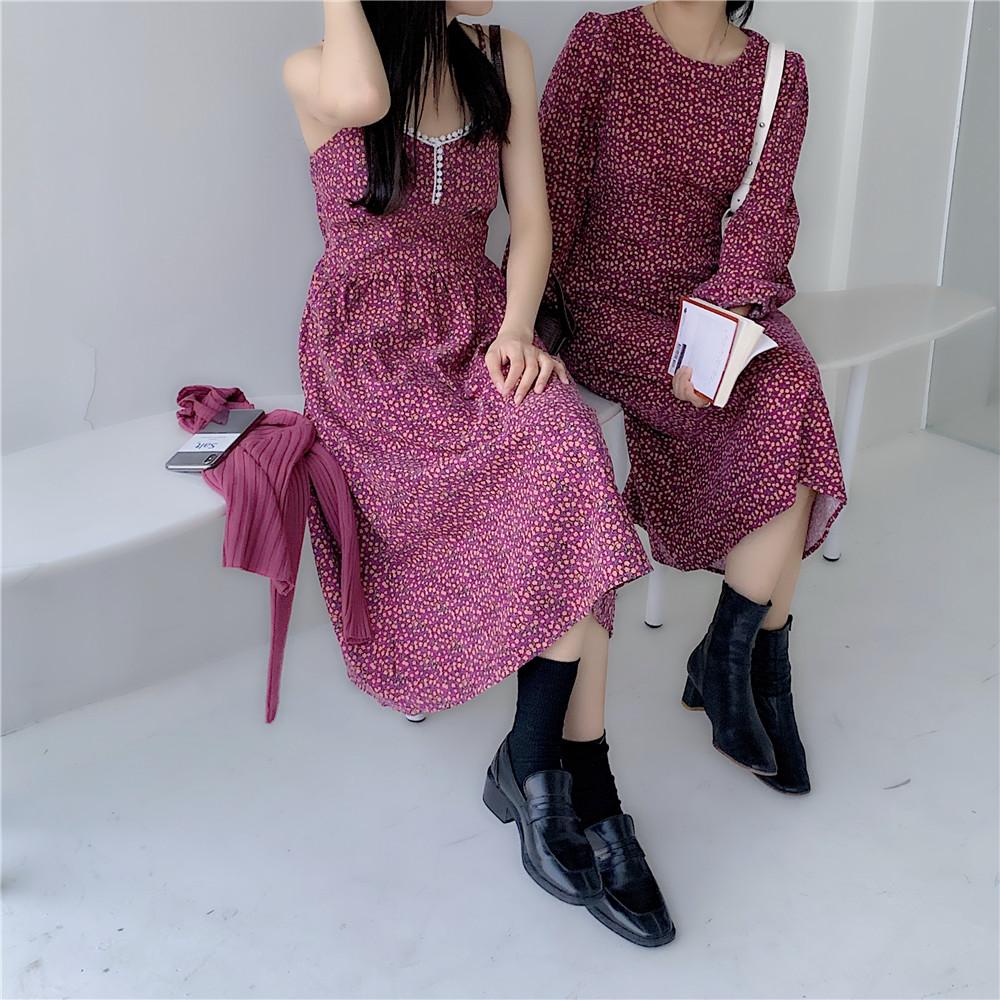 实拍 实价 韩版复古气质显瘦灯芯绒碎花长袖腰带连衣裙-初九-