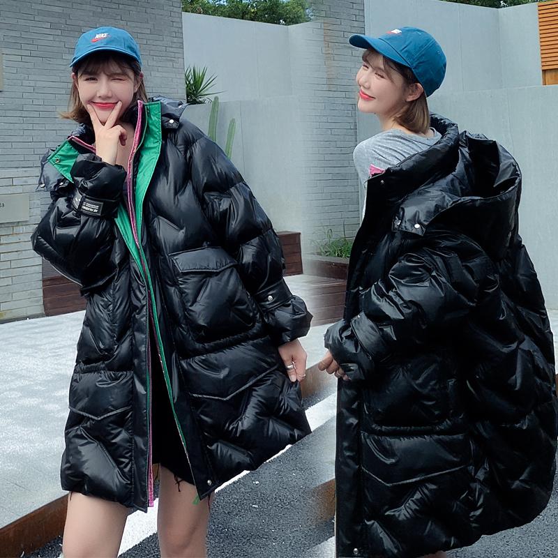 实拍2020冬季棉衣网羽绒服女胖MM学院风配色大码加厚宽松棉服-依之秀羽绒服-