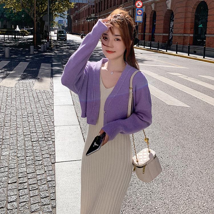 秋季针织套装女韩版小个子时尚气质温柔风洋气吊带裙两件套春秋装-卡嫚妮服饰-