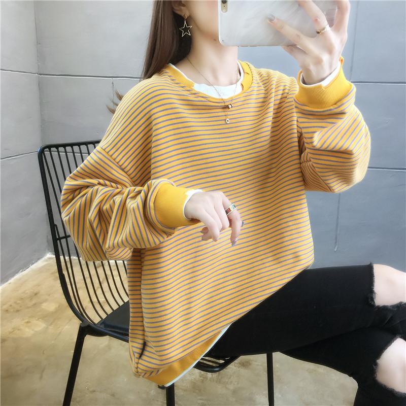 实拍 2020秋装新款韩版宽松加绒圆领卫衣女假两件条纹学生上衣ins-番茄Chan-