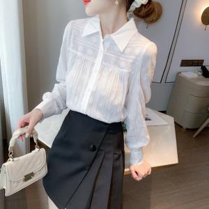 YF17106# 白色长袖衬衫女全棉秋季新款法式泡泡袖上衣设计感