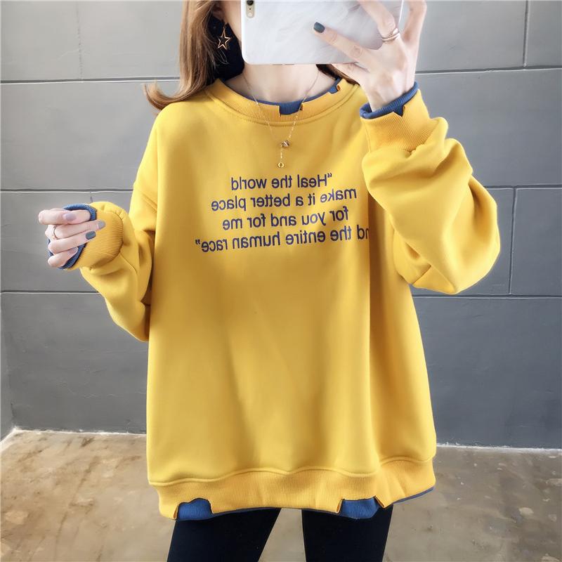 实拍 加绒卫衣女士秋冬新款2020韩版宽松刺绣拼接假两件套头卫衣-番茄Chan-