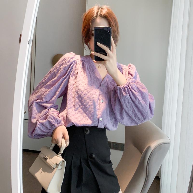 现货实拍2020新款秋冬衬衫女长袖百搭外穿设计感V领气质绣花上衣-棉爆爆-