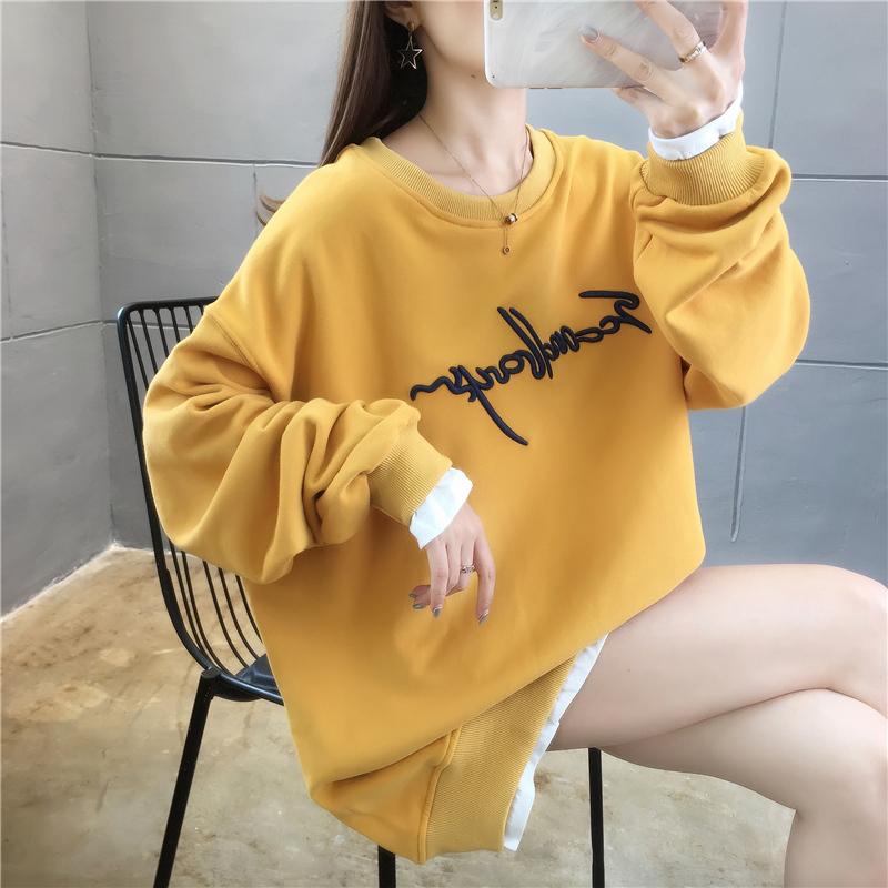 实拍 初秋卫衣女新款2020韩版宽松卡通刺绣假两件套头卫衣女潮-番茄Chan-