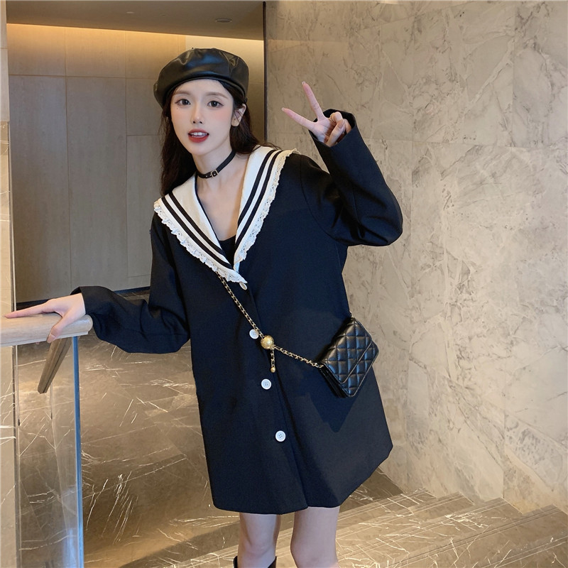 控8 实拍实价 海军领黑色西装外套休闲西服-西卡-sika-