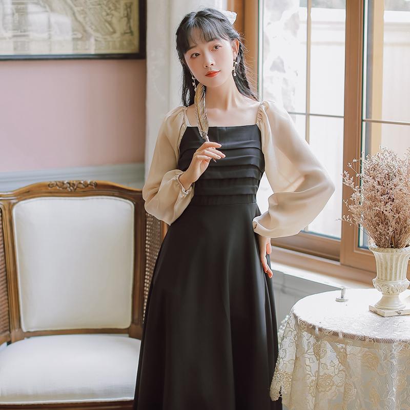 实拍现货长袖拼色文艺复古连衣裙秋季新款售价不低于88-芷昕实拍店-