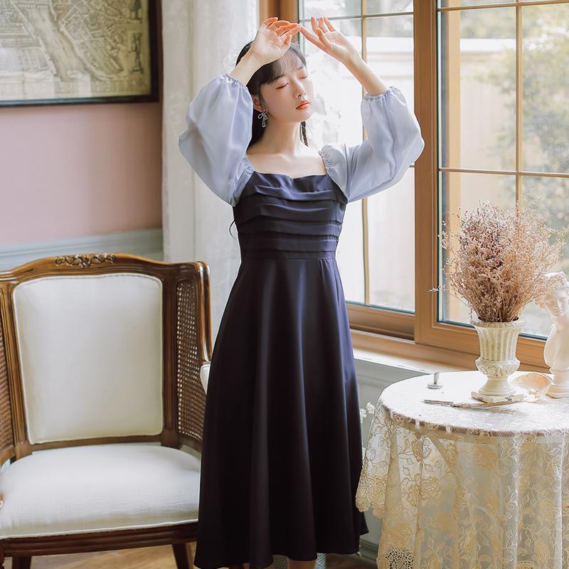 实拍现货长袖拼色法式复古连衣裙秋季新款售价不低于88-芷昕实拍店-