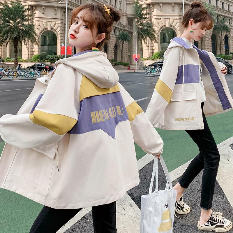 实拍工装外套女春秋装2020流行女装新款初中学生韩版宽松百搭上衣-魅依依棒球服牛仔外套-