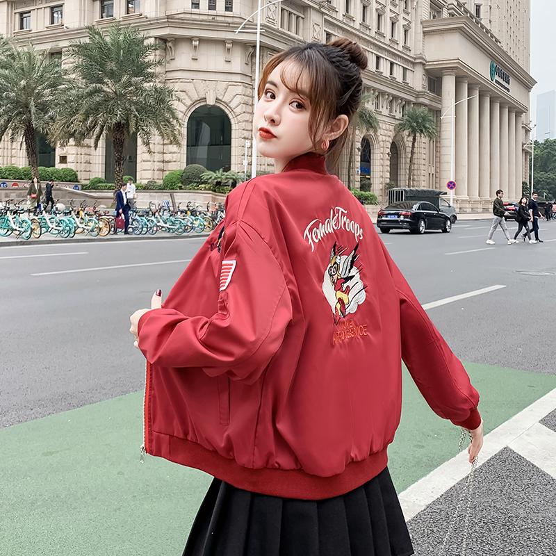 实拍外套女短款2020春秋新款韩版宽松百搭棒球服飞行员夹克潮-魅依依棒球服牛仔外套-