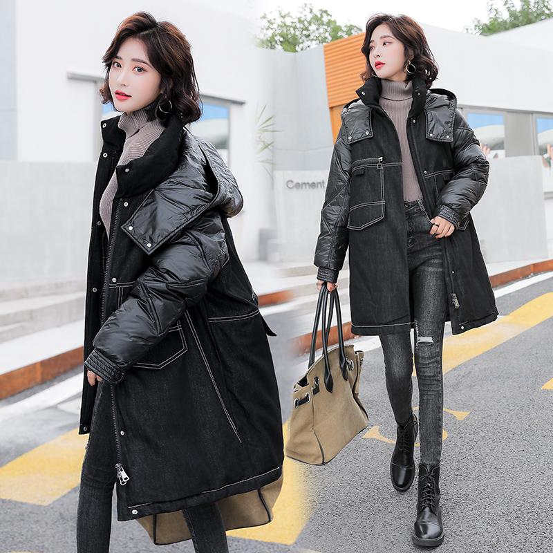 实拍2020新款羽绒服 女中长款拼接牛仔时尚韩版棉服外套女-艾尚梦颖羽绒服-