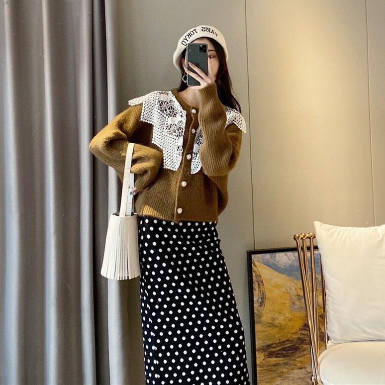 法式温柔风蕾丝边毛衣女2020秋冬装韩版波点半身裙打底针织两件套-卡嫚妮服饰-