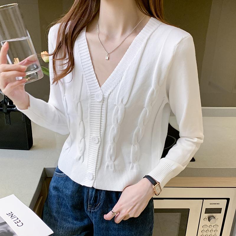 针织衫女2020秋季新款韩版宽松显瘦洋气外穿短款复古开衫外套-芙沫雅实拍店-
