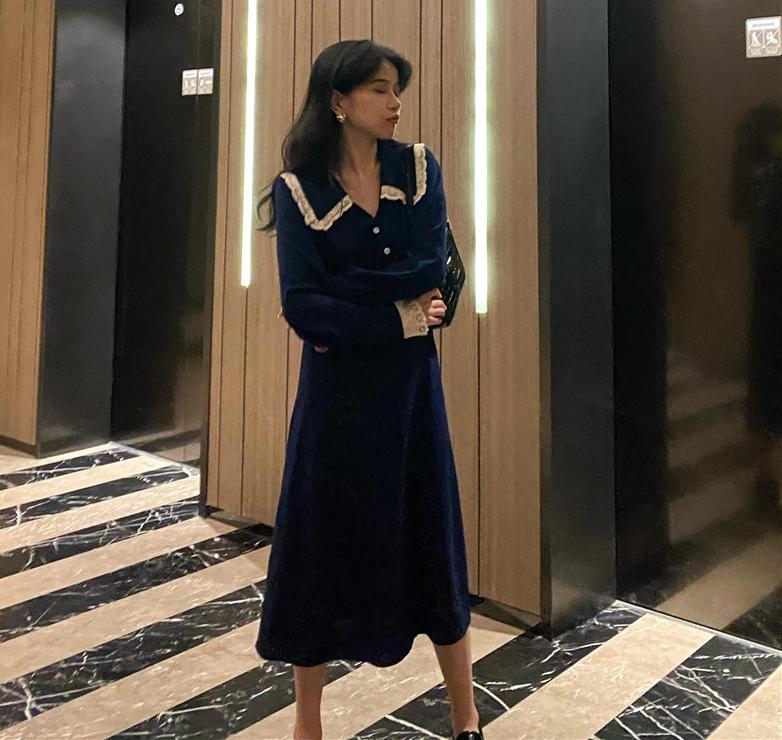 秋季法式复古连衣裙女装2020秋装新款小个子显瘦气质长款长袖裙子-韩尚秀实拍总店-