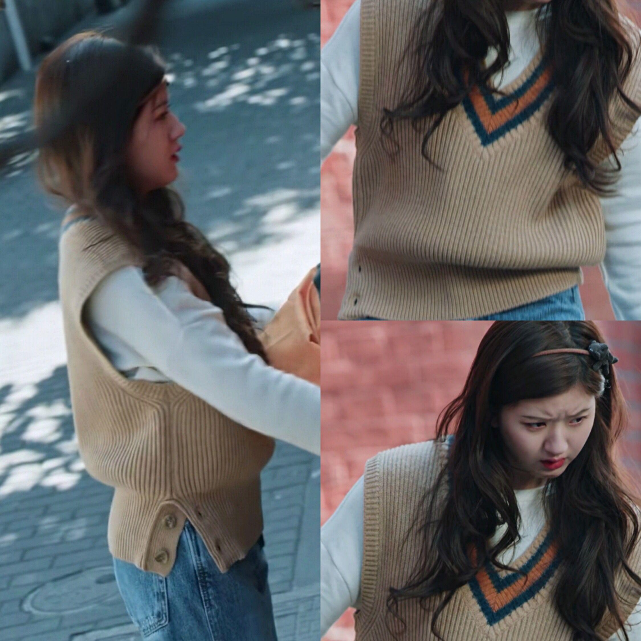我喜欢你赵露思顾胜男同款V领套头不对称针织马甲女宽松毛衣坎肩-金谷谷服饰-