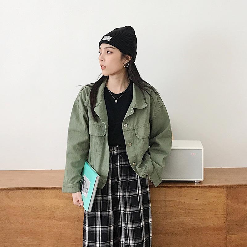 实拍秋季韩版潮百塔宽松牛仔外套学生纯色休闲衫翻领长袖短外套-MG小姐-