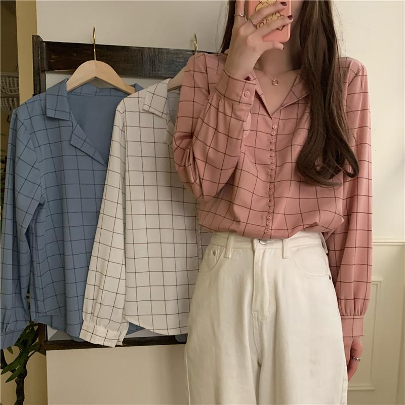 实拍实价 秋季新款百搭显瘦气复古袖衬衣 售价不得低于27.98-粤U-