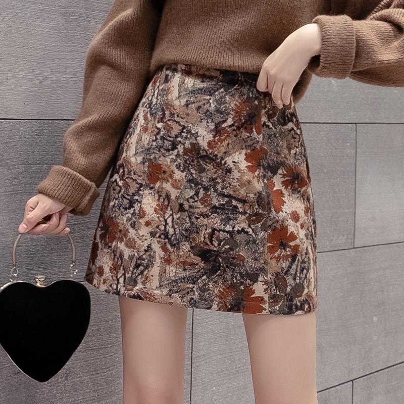 实拍秋冬新款法式复古高腰显瘦花色半身裙女流行网红A字包臀短裙-MGM-8度服饰-