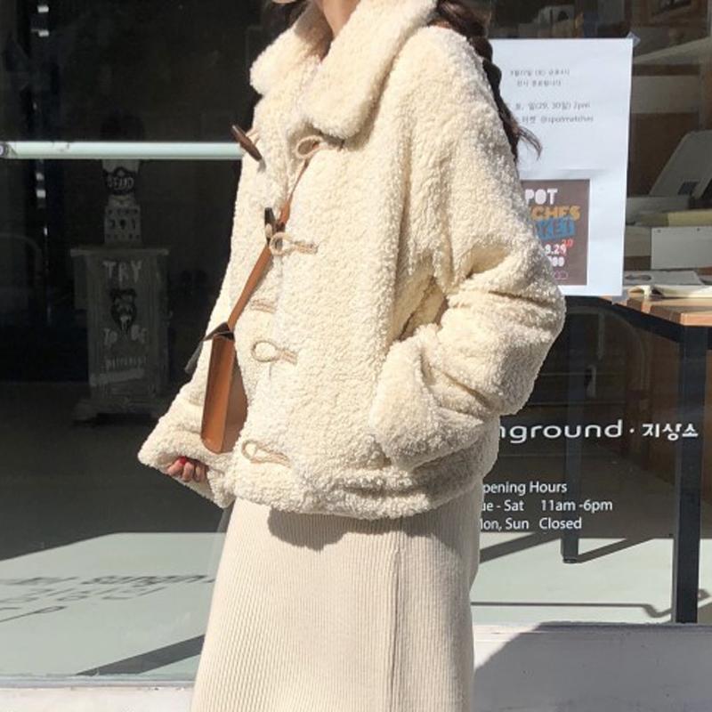 韩chic 鬼马系少女 韩系加厚保暖羊羔毛长袖短外套-Lanly-蓝菲-