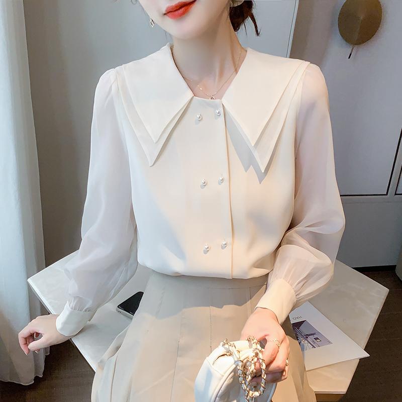 现货实拍雪纺衬衫女长袖秋冬2020年拼色娃娃领上衣百搭设计感衬衣-棉爆爆-