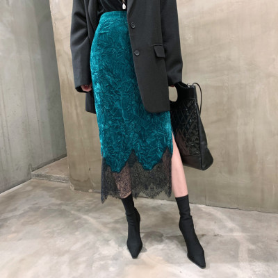 丝绒质感重工刺绣蕾丝拼接开叉复古绿半身裙-INeedU韩风-