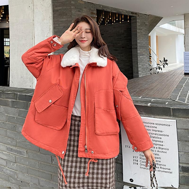 实拍工装外套女百搭2020冬季新款兔绒韩版宽松学生毛领派克服ins-仁怡服饰-