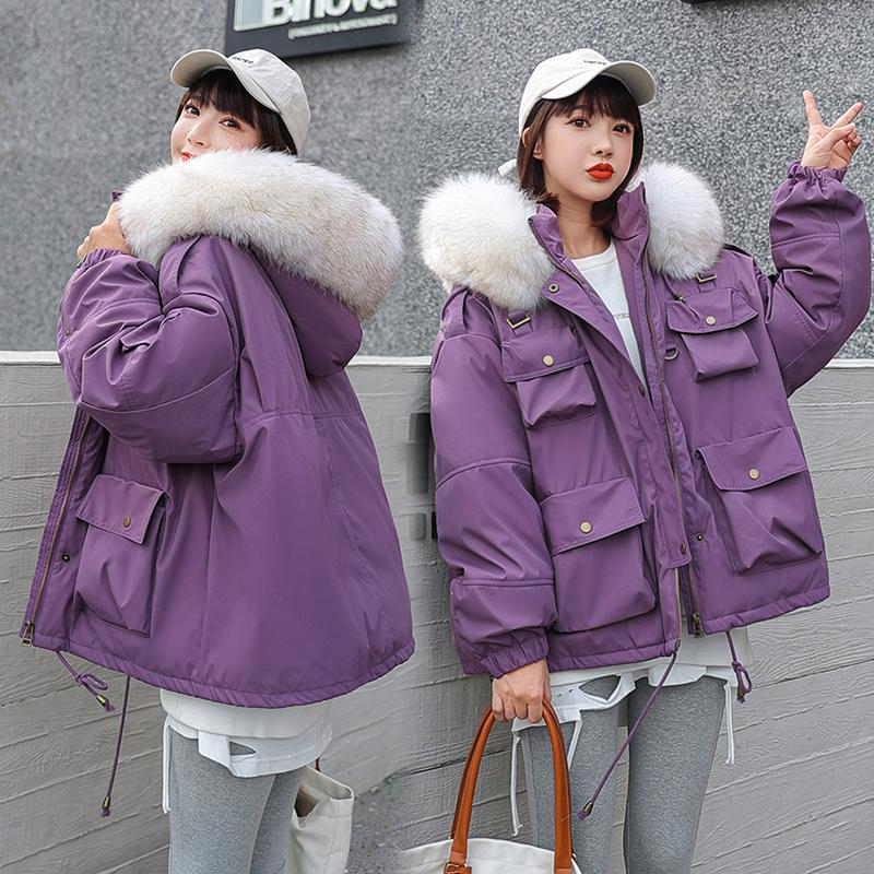 实拍羽绒服棉服女冬2020新款韩版宽松短款ins面包服棉衣棉袄-千姿秀羽绒服-