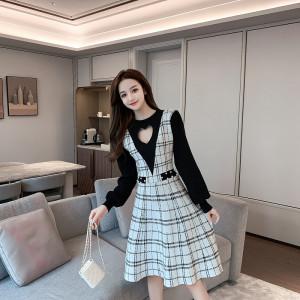 FS99538# 秋冬季时尚新款女针织毛衣连衣裙假两件套 服装批发女装直播货源
