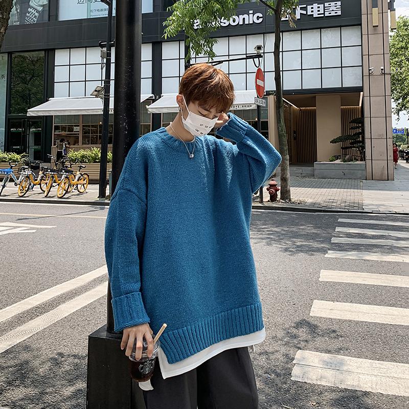 实拍20年原创新款港仔风男潮牌宽松爆款男女针织毛衣假两件-ABC服饰-