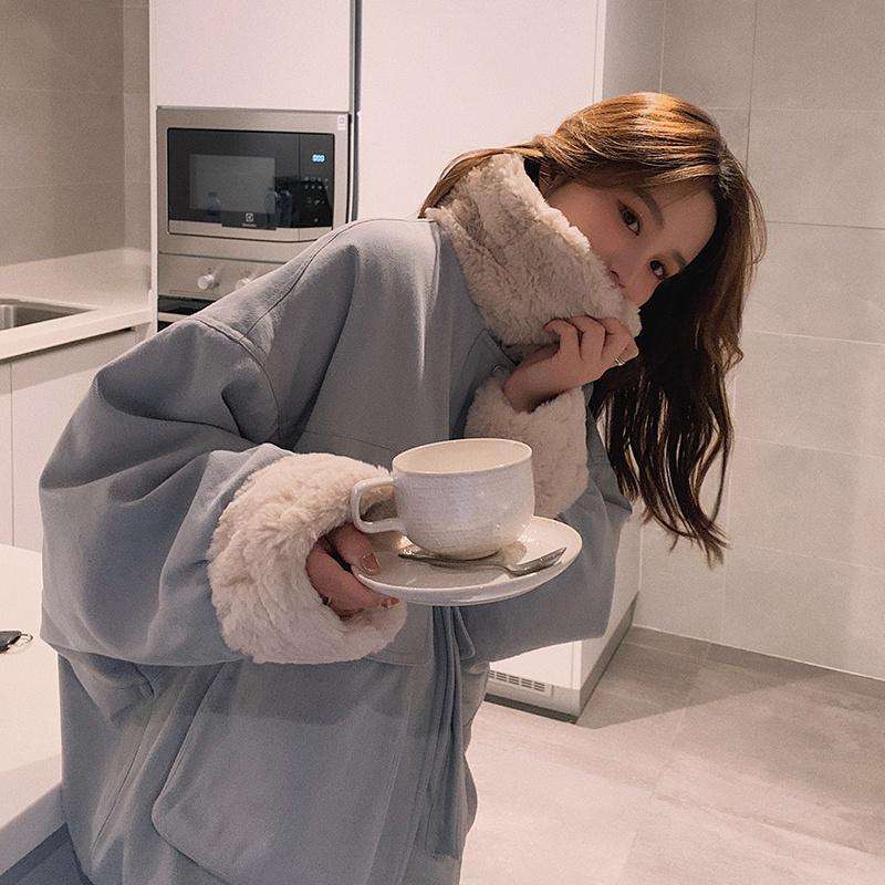 实拍 新款棉衣羊羔毛外套棉服小个子MM韩版冬装外套-千姿秀羽绒服-