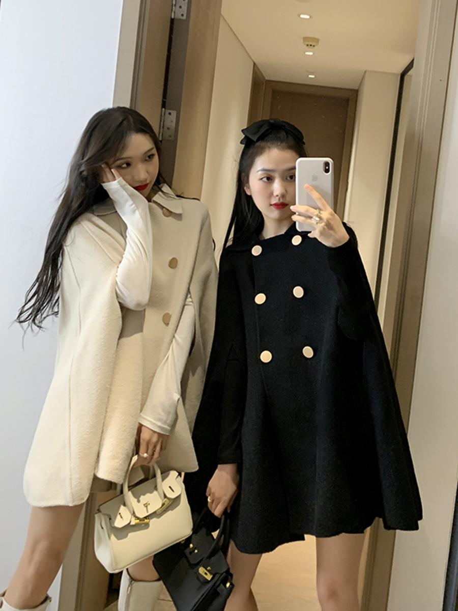 果果家黑色长袖外套秋装2020年新款女韩版宽松百搭斗篷上衣洋气潮-集美拉-