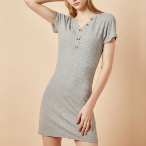 YF13438# 女装爆款纯棉长款t恤女V领短袖坑条针织短裙 服装批发女装直播货源