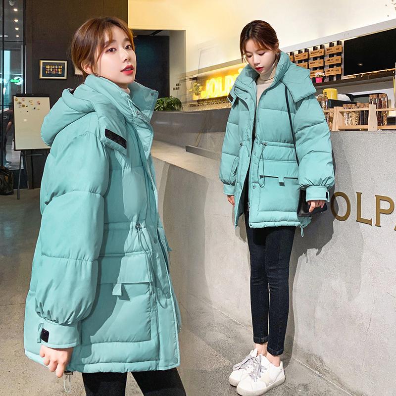 实拍2020新款羽绒服女韩版时尚收腰中长款简约百搭棉服外套-千姿秀羽绒服-