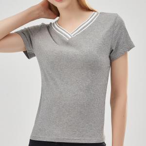 YF13437# 女装新款坑条圆领短袖纯棉T恤休闲百搭针织衫上衣女 服装批发女装直播货源