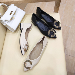 X-24892# 秋季女鞋尖头粗跟单鞋新款百搭爆款软皮鞋子软底低跟网红女鞋 鞋子批发女鞋货源