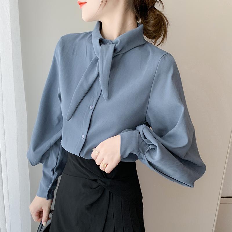 实拍现货蓝色领结衬衫法式上衣冷淡风衬衣百搭2020年秋冬款设计感-棉爆爆-