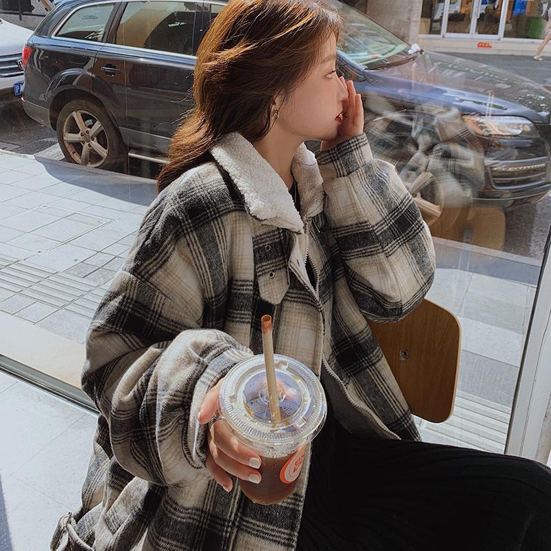 实拍羽绒服女情侣男女同款2020格子森系复古立领工装棉服外套潮-千姿秀羽绒服-