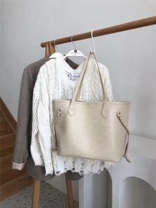 YF24573# 托特子母包包女鳄鱼纹质感单肩手提大容量软皮购物袋 包包批发女包货源