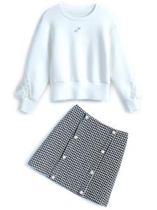 YF12602# 拼接荷叶花边镂空圆领卫衣+双排扣格纹半裙套装女2020秋冬新