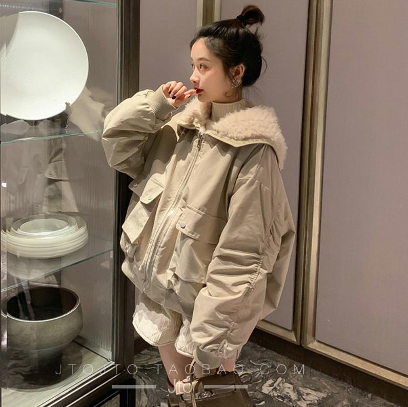官网图2020新款韩版超火羽绒服 短款羊羔毛翻领ins加厚棉服女-依之秀羽绒服-