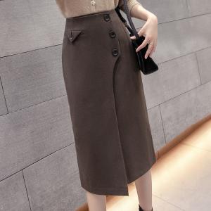 YF11139# 毛呢开叉半身裙冬季新款设计感高腰修身包臀一步裙 服装批发女装直播货源