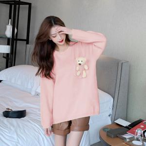 YF19603# 紫色小熊毛衣女秋冬外穿新款设计感慵懒风上衣韩版宽松针织衫服装批发直播货源